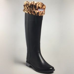 Hunter Boot Liner Leopard Cuff Welly boots 8-10